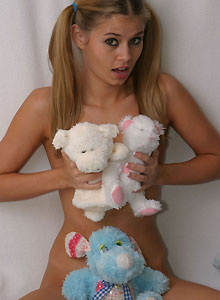 Teen With Pigtails Squeezes Her Perky Tits Together - Picture 12